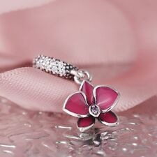 Silver Pink Orchid Enamel Flower Dangle Charms For Bracelet DIY Jewelry Making