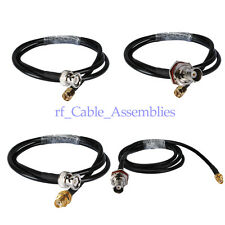 1 x RG58 SMA MALE or FEMALE to BNC MALE or Female Bulkhead RF Pigtail Cables 3ft