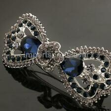 Fashion Crystal Bowknot French Barrette Ponytail Holder Hair Clips Accessory