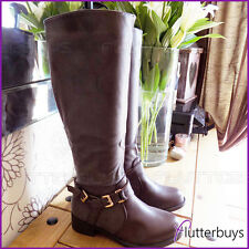 Womens Riding Brown Knee High Boots Zip Double Buckles Fur Ladies Shoes Size New
