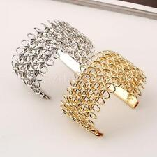 Charm Multilayer Weave Wide Open Wrap Cuff Chain Bangle Bracelet Jewelry Gift