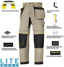 Snickers 6207 LiteWork Trousers Holster Pockets Mens Snickers Ripstop Khaki Pre