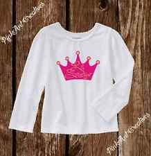 """Pink Crown """"Little Sister"""" Gold Sparkle Long Sleeve Tshirt 2T - 5T Toddler Girl"""