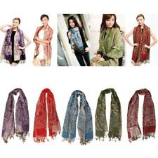 Womens Winter Warm Cashmere Shawl Long Scarf Wrap Floral Pashmina Stole Scarves