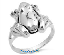 Sterling Silver 925 PRETTY MOVABLE FROG CHARM DESIGN SILVER RING SIZES 5-10
