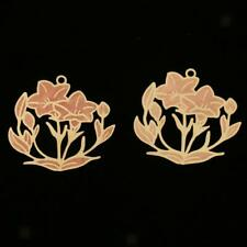 25pcs Copper Decorative Piece Sheet Charms Pendant for Jewelry Making Flower