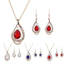 Teardrop Pendant Crystal Rhinestone Earring Necklace Set Bridal Women Jewelry