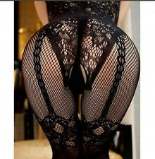Womens Sexy Open Crotch Stockings Crotchless Fishnet Sheer Body Dress Lingerie