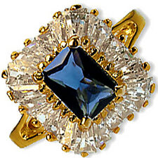 Blue Cocktail Ring Emerald Cut Cubic Zirconia Yellow Gold Plate Fashion r283g
