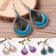 Stylish Women Lady's 1Pair Silver Plated Feather Dangle Drop Earrings Jewelry