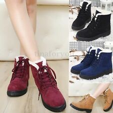 UK Women Ladies Flat Lace Up Fur Lined Winter Martin Boots Snow Ankle Boot Shoes