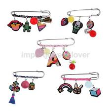 Cartoon Charms Safety Pin Brooch Dress Hijab Suit Scarf Xmas Jewelry Girls Women