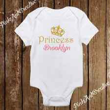 Custom Name Sparkle Princess Crown Cute Baby Girl Clothes Onesies - Personalized