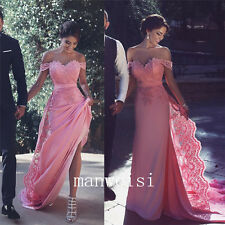 Off-Shoulder Pink Appliques Bridal Dresses Wedding Long Train Gown Sexy Backless