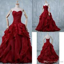 Vintage Burgundy Organza Ball Gown Wedding Dress Sweetheart Wedding Bridal Gowns