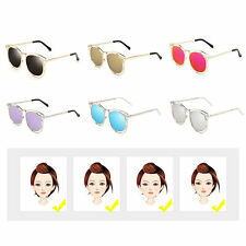 Women's Double Metal Frame with Arrow Colorful Round Lens UV400 Sunglasses SM