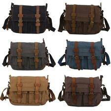 Men's Vintage Canvas Leather Satchel School Military Shoulder Messenger Bag