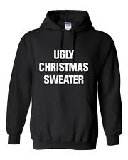 Ugly Christmas Sweater Hoodie Sweatshirt Jumper Pullover - Unisex - Black / Grey