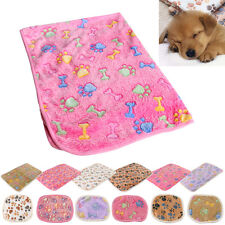 Pet Small Large Paw Print Soft Blanket Bed Cushion Cat Dog Puppy Coral cashmere