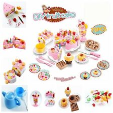 75Pcs Plastic Kitchen Cutting Toy Birthday Cake Pretend Play Food Set for Kids