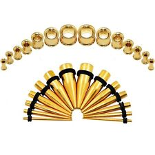 2Pairs Gold Tunnel Plug Stainless Steel Ear Lobe Expander Taper&Tunnel Screw Kit
