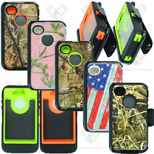 For Apple iPhone 4/4s Camo Case Cover w/Screen(Belt Clip Fits Otterbox Defender)