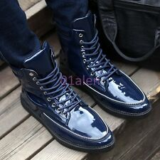 Mens High Top Rivet Ankle Boots Lace Up Military Shiny Punk Cowboy Chic Sneaker
