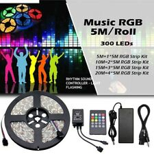 RGB 5M 300 SMD 3528/5050 Flexible Lamp Led Strip Light+24/44 Keys Remote +Supply