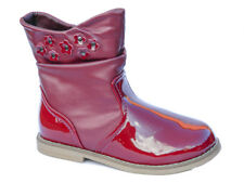 NEW Toddler Girls Burgundy Patent Ankle Boots Fur Lined UK Kids Shoes Size 6-12