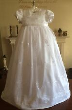 NEW BABY GIRLS WHITE CHRISTENING BAPTISM GOWN DRESS VINTAGE STYLE 3/6/9/12m +BOX