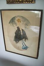 "Antique LOUIS ICART  LITHO ""Le Bonnet Bleu"" - by MORRIS & BENDIEN, NY,20""x16"""