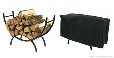 """Sunnydaze Steel Curved Firewood Log Rack 36""""- 48"""" 