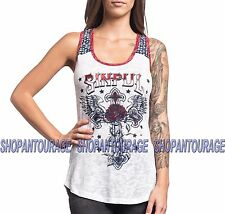 Sinful Cherry Sue S3801 Women`s New White Tank Top By Affliction