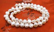 Big 8-9mm White Baroque Natural Freshwater Pearl Loose Beads Strand 14''-los720