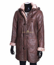 Ladies Brown New Smart Winter Warm Real Shearling Sheepskin Leather Duffle Coat