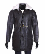 Theo Brown Mens Smart Winter Real Shearling Sheepskin Hooded Leather Duffle Coat