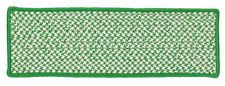 Houndstooth Tweed Indoor Outdoor Braided Rectangle Stair Tread, Grass Green