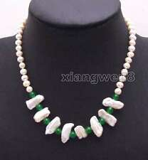 6-7mm White Round pearl 12*15mm Natural Biwa Pearl Green Jade 17'' Necklace-6128