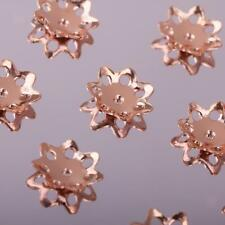 10pcs Silver Petal Flowers Bead Caps DIY Bracelet Necklace Rose Gold Fit Beads