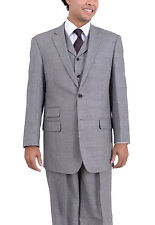 Apollo King Classic Fit Gray Glen Plaid Two Button Three Piece Pleated Wool Suit