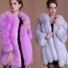Women's Long Faux Fox Fur Winter Coat Jacket Warm Parka Outwear Ladies Overcoat