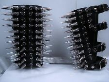 LEATHER SPIKED GAUNTLET.BLACK METAL....(MDLG0043)..... RAGNAROK