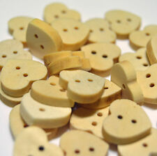 Heart shaped wooden buttons, 10/15/20/25/50/100 sewing - crafting - scrapbooking