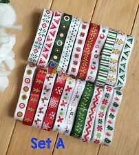 "20-22YDs Mixed 3/8"" Grosgrain/Satin Ribbon Xmas Snowflake Bling Scrapbooking Lot"