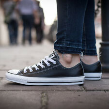 CONVERSE Chuck Taylor Leather Ox Lo Black/White 132174C Sz 7.5 - 11
