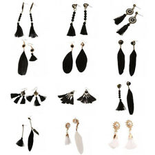 Fashion Bohemian Earrings Women Long Tassel Fringe Feather Boho Dangle Earrings