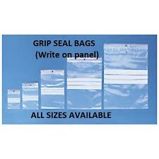 100 WRITE ON PANEL Grip Seal Clear Resealable Bags * ALL SIZES*