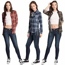 Womens PLAID FLANNEL SHIRTS Casual Blouses Checkered Button Down Roll Up Sleeve