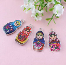 LOT 10X Two-Sided Mix Color Enamel Matryoshk Russian Doll Charm 4 Style U Choice