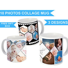 PERSONALISED MUG 10 PHOTO COLLAGE ADD ANY TEXT CUSTOM DESIGN GIFT CUP WITH BOX